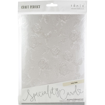 Tonic IVORY TOILE Luxury Embossed A4 Paper Pack 9823e