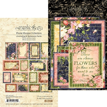 Graphic 45 FLORAL SHOPPE Journaling And Ephemera Cards 4501701