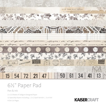 Kaisercraft PEN AND INK 6.5 x 6.5 Inch Paper Pad PP1041