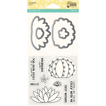 Jillibean Soup SUCCULENTS Clear Stamp and Die Set jb1558