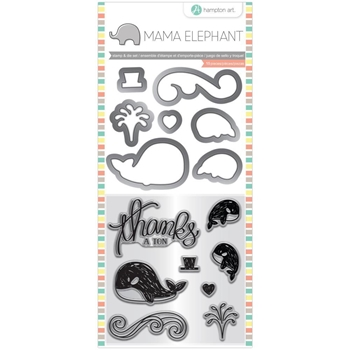 Hampton Art WHALE THANKS Mama Elephant Clear Stamp and Die Set sc0827