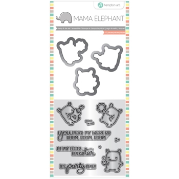 Hampton Art ROCK MONSTER Mama Elephant Clear Stamp and Die Set sc0828