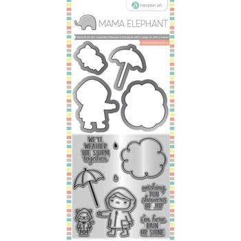 Hampton Art SHOWERS OF JOY Mama Elephant Clear Stamp and Die Set sc0832