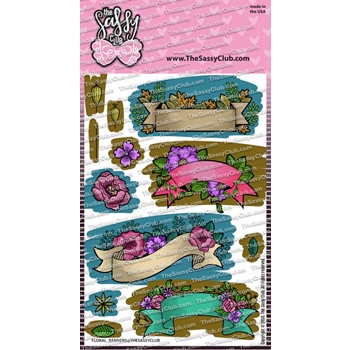 The Sassy Club FLORAL BANNERS Clear Stamps tscl137