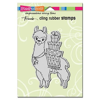 Stampendous Cling Stamp LLAMA DELIVERY Rubber UM crp319