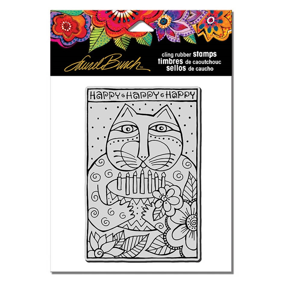 Stampendous Cling Stamp HAPPY BDAY CAT Rubber UM Laurel Burch lbcp012 zoom image