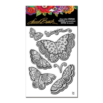 Stampendous Cling Stamp IMAGINE BUTTERFLIES with Stencil Rubber UM Laurel Burch lbcrs08