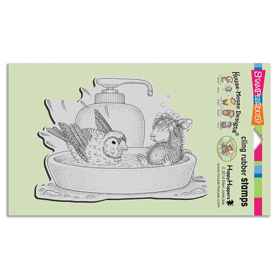 Stampendous, House Mouse Bird Bath Cling Stamp