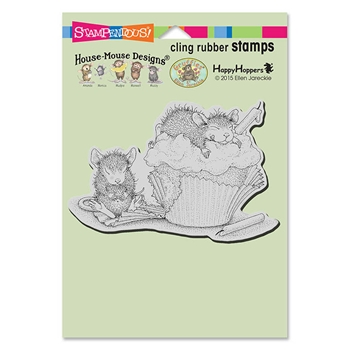 Stampendous Cling Stamp CUPCAKE HAPPY Rubber UM hmcp96 House Mouse