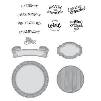 SDS-135 Spellbinders BARREL OF SENTIMENTS Cling Stamp and Die Set Wine Country by Stacey Caron