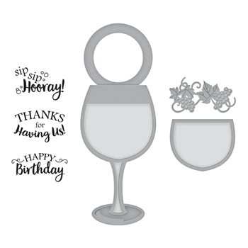 SDS-134 Spellbinders WINE GLASS BOTTLE TAG Cling Stamp and Die Set Wine Country by Stacey Caron
