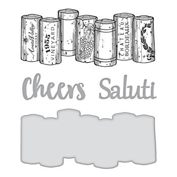 SDS-132 Spellbinders WINE CORKS Cling Stamp and Die Set Wine Country by Stacey Caron