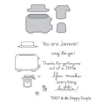 SDS-127 Spellbinders TOAST WITH JAM 'N BREAD Cling Stamp and Die Set The Perfect Match by Debi Adams