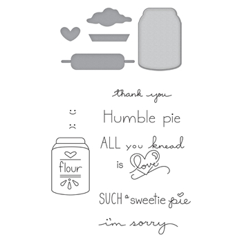 SDS-124 Spellbinders FLOUR POWER Cling Stamp and Die Set The Perfect Match by Debi Adams