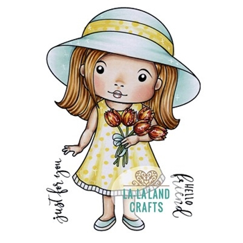 La-La Land Crafts Cling Stamp MARCI WITH TULIPS 5379