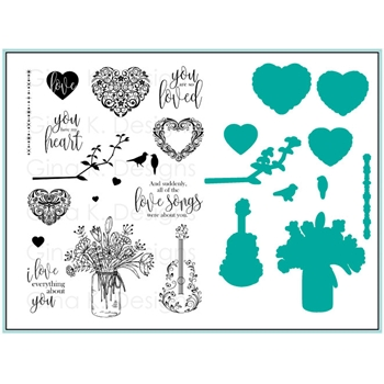 Gina K Designs YOU HAVE MY HEART Clear Stamp and Die Set Bundle 4334