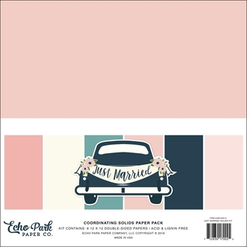 Echo Park JUST MARRIED 12 x 12 Double Sided Solids Paper Pack jm153015
