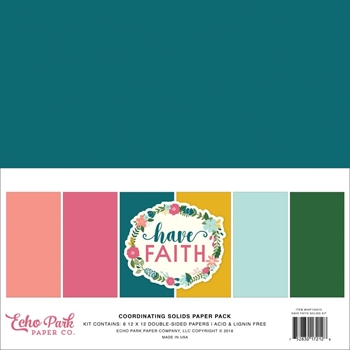 Echo Park HAVE FAITH 12 x 12 Double Sided Solids Paper Pack haf152015