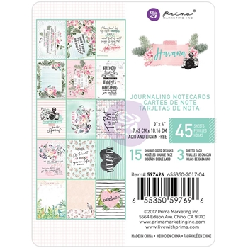 Prima Marketing HAVANA 3 X 4 Journaling Notecards 597696