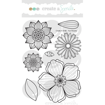 Create A Smile FUN FLOWERS Clear Stamps clcs73