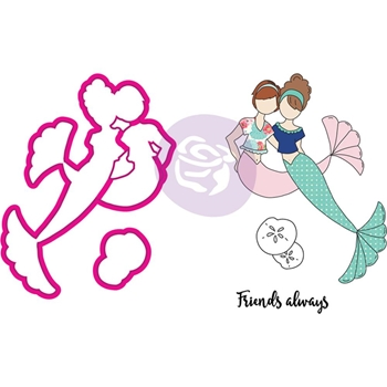 Prima Marketing BESTIES Cling Stamps & Dies Julie Nutting Mermaid Kisses 912567