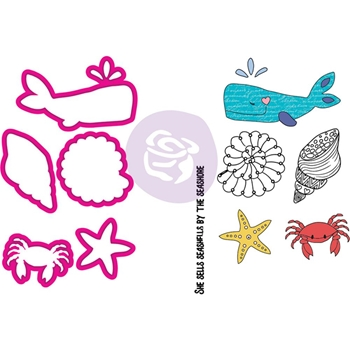Prima Marketing SEA LIFE Cling Stamps & Dies Julie Nutting Mermaid Kisses 912604