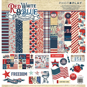 PhotoPlay RED, WHITE & BLUE 12 x 12 Collection Pack rb8920