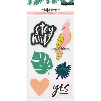 Crate Paper WILD HEART Embossed Puffy Stickers 344442