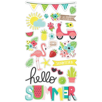 Simple Stories HELLO SUMMER 6 x 12 Chipboard Stickers 10152