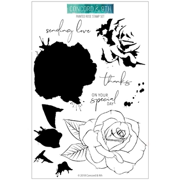 Concord & 9th PAINTED ROSE Clear Stamp Set 10386
