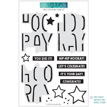 Concord & 9th TRIPLE STEP HOORAY Clear Stamp Set 10389