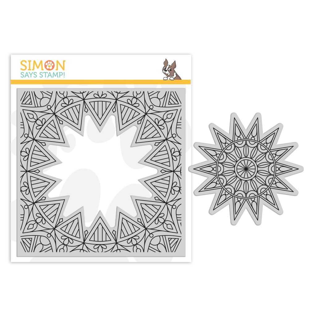 Simon Says Cling Rubber Stamp CENTER CUT BURST sss101857 Fluttering By zoom image