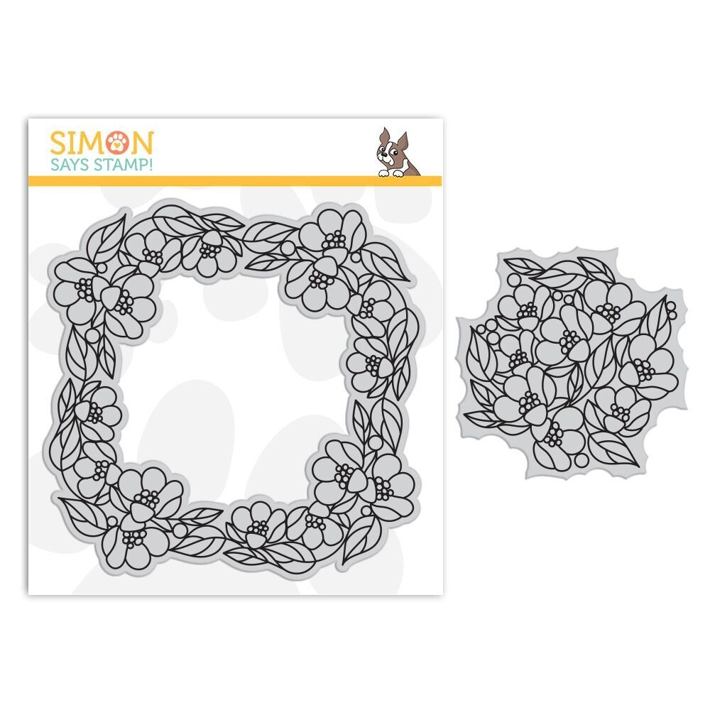 Simon Says Cling Rubber Stamp CENTER CUT FLOWERS Background sss101841 Fluttering By zoom image