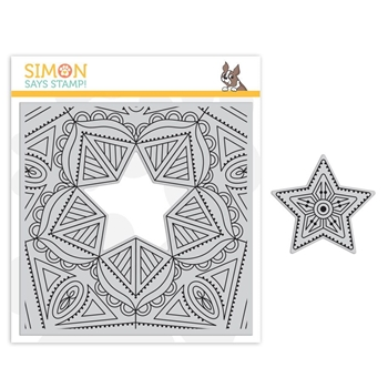 Simon Says Cling Rubber Stamp CENTER CUT STAR Background sss101848 Fluttering By