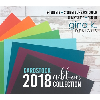 Gina K Designs 2018 ADD-ON COLLECTION 24 Pack 8.5 x 11 Inch Cardstock 3986