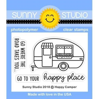 Sunny Studio HAPPY CAMPER Clear Stamp Set SSCL-192