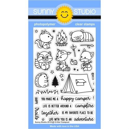 Sunny Studio CRITTER CAMPOUT Clear Stamp Set SSCL-191 Preview Image