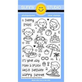Sunny Studio BEACH BABIES Clear Stamp Set SSCL-190