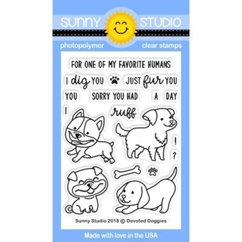 Sunny Studio DEVOTED DOGGIES Clear Stamp Set SSCL-194