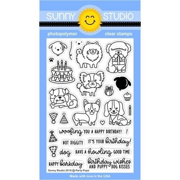Sunny Studio PARTY PUPS Clear Stamp Set SSCL-193