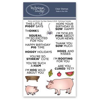 Technique Tuesday PARKER AND PENNY PIG Clear Stamps 02644