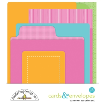 Doodlebug SUMMER ASSORTMENT Cards and Envelopes 5878