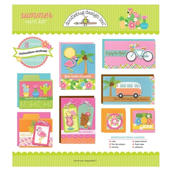 Doodlebug SUMMER CARD KIT Eight Cards and Envelopes 5880