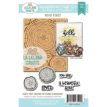 La-La Land Crafts Background Cling Stamp WOOD RINGS Set BK001