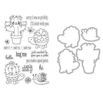 Hero Arts CACTUS ANIMALS Clear Stamp and Die Combo SB199
