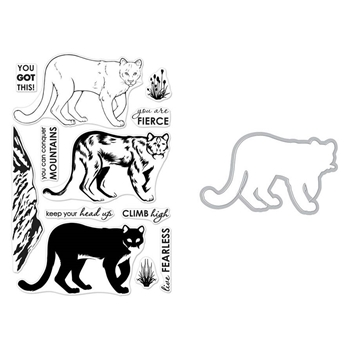 Hero Arts LAYERING MOUNTAIN LION Clear Stamp and Die Combo SB197