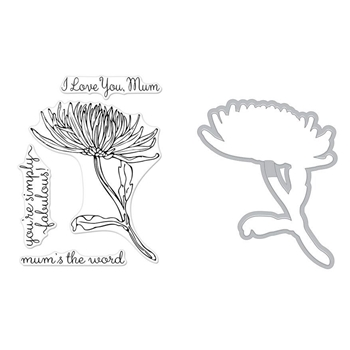 Hero Arts FLORALS MUM STEM Clear Stamp and Die Combo SB194