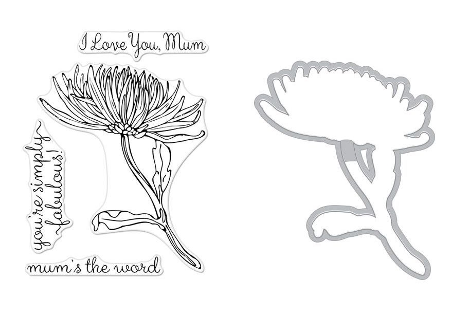 Hero Arts FLORALS MUM STEM Clear Stamp and Die Combo SB194 zoom image