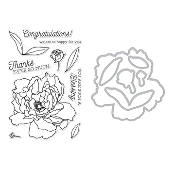 Hero Arts PEONIES Clear Stamp and Die Combo SB191