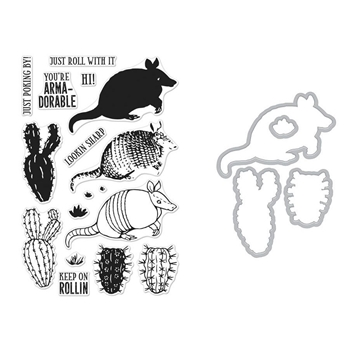 Hero Arts Color Layering ARMADILLO Clear Stamp and Die Combo SB190